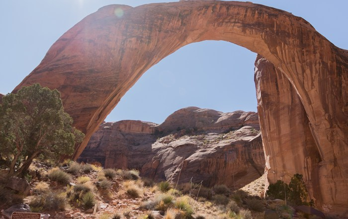 Explore sacred Rainbow Bridge National Monument, Utah, near Lake Powell, Arizona. It is the tallest natural bridge in North America.