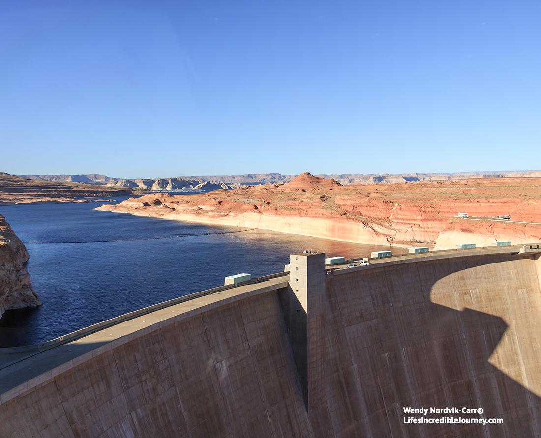 Glen Canyon Dam is the second highest concrete-arch dam in North America.It is one of the top things to do at Lake Powell. Photo Credit: Wendy Nordvik-Carr©