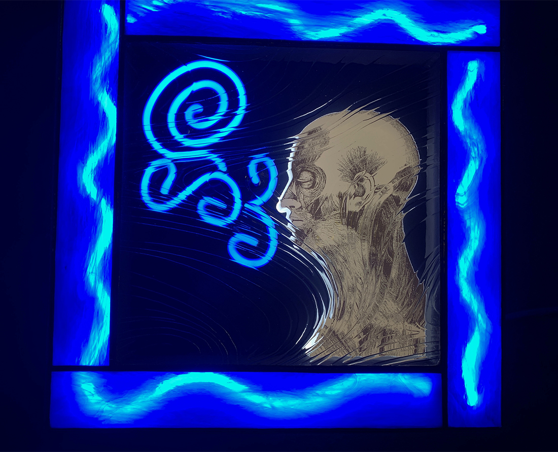 Seattle Glass Art - Western Neon Refract Seattle Artist William Kirtley - Wind
