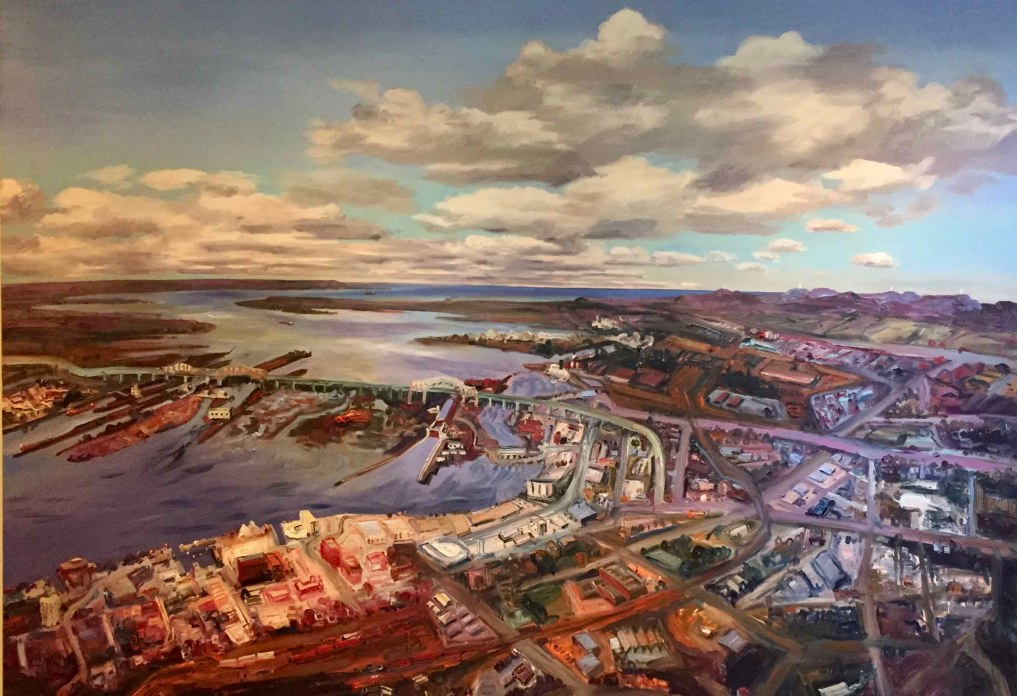 Renowned Ontario painter John Hartman created this legacy painting in 2012 to celebrate the 100th birthday of Sault Ste. Marie. This painting hangs in the Algoma Art Gallery.