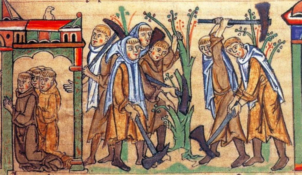 Cistercians working in a field
