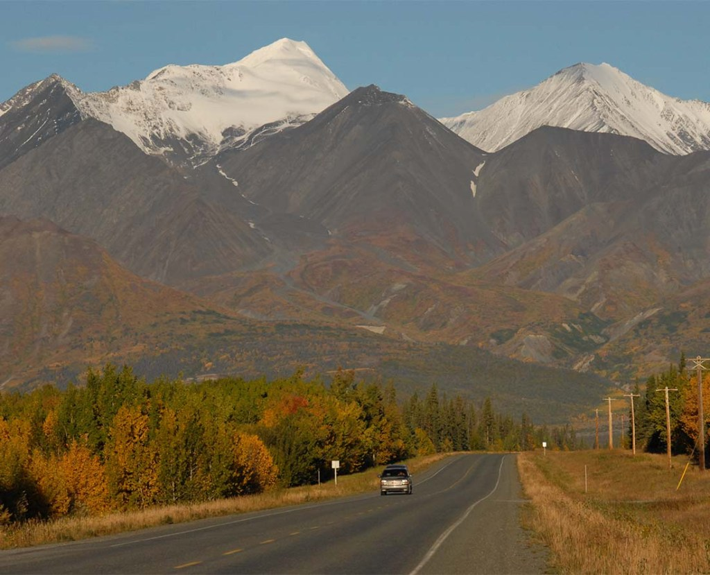 Alaska Highway's stunning autumn colours. It is one of the most iconic highways in the Yukon.