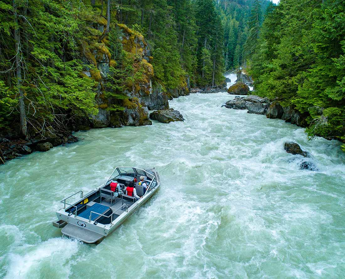 Taking a Jet Boat Tour is one of the best things to do in the Pemberton Whistler Nairn Falls Provincial Park area.