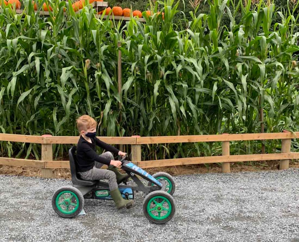 E loved riding the pedal Kart at Taves Family Farms. He did not want to leave. Photo: Wendy Nordvik-Carr©