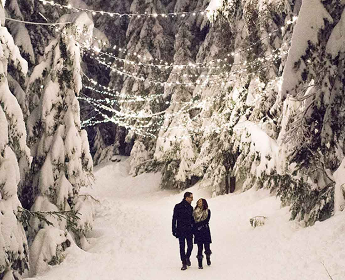 Best Vancouver Christmas Holiday Lights - Light Walk brightens the night at the top of Grouse Mountain. Photo: Courtesy Grouse Mountain.