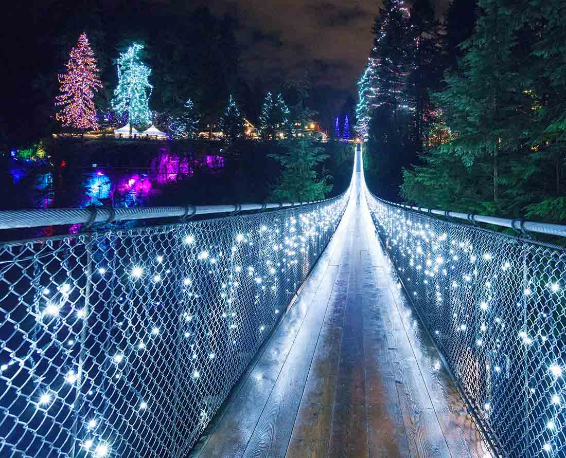 Some of the best Vancouver Christmas lights can be found at Capilano Suspension Bridge.