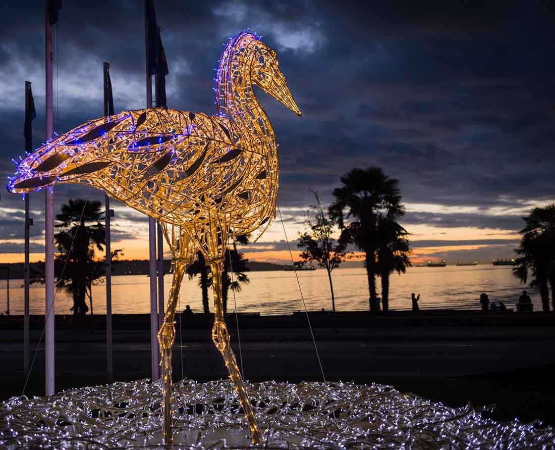One of seven stunning art and light displays honouring British Columbia's wildlife community. Photo: Courtesy of
