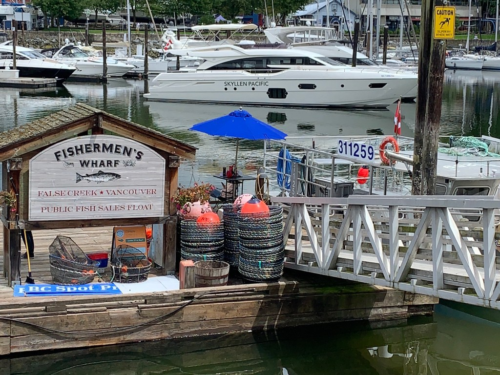 Vancouver Fishermen's Wharf at False Creek Spot Prawn sales and other seafood sales