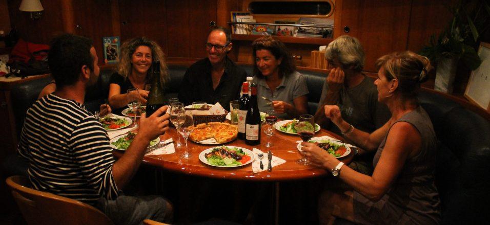 Les repas à bord du bateau