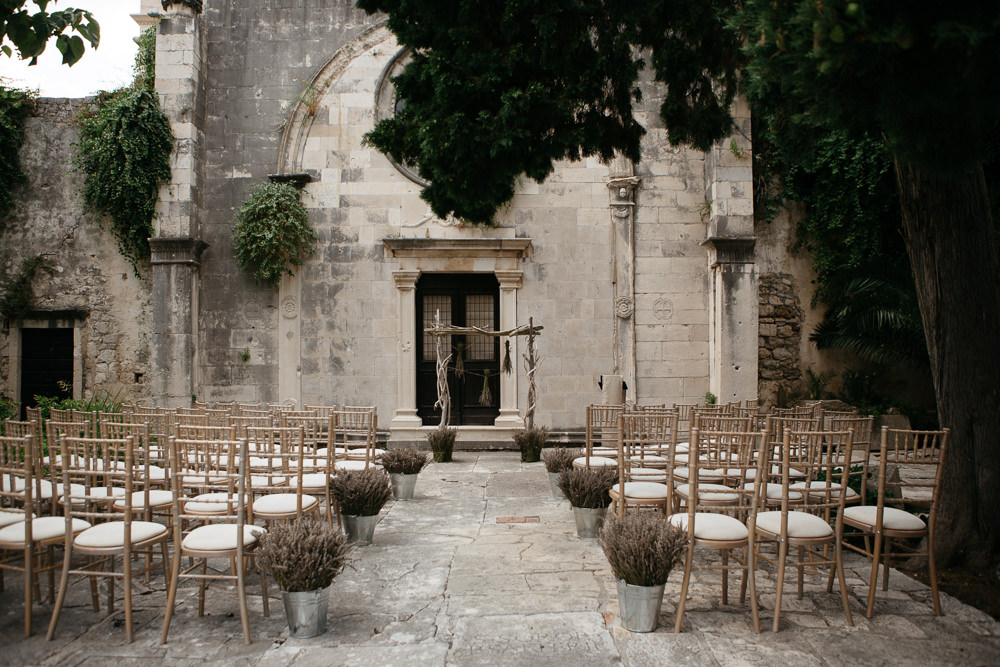Hvar and Saint Mark Church ceremony setting on a wedding day