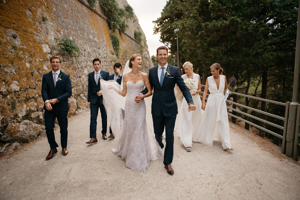 Bridal party in Hvar after the ceremony in Hvar in Croatia