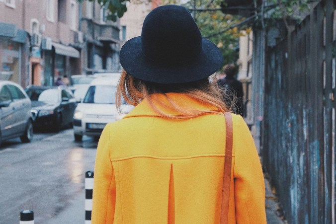 Gelb Mantel Hut Damenmantel