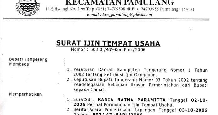 Pengertian SITU (Surat Izin Tempat Usaha)