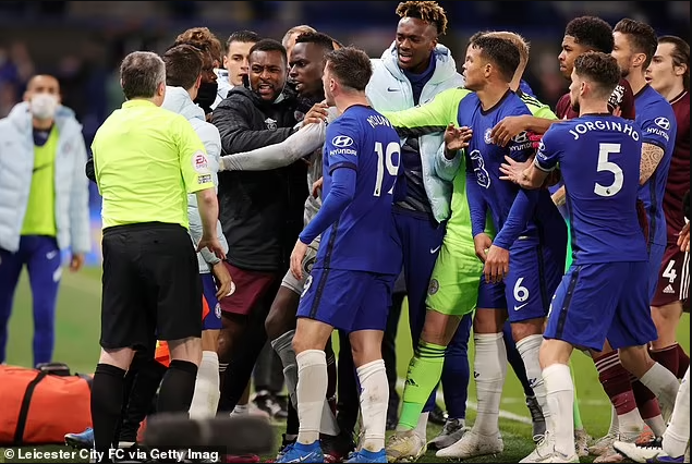 Chelsea and Leicester City charged by the FA following mass brawl between players in Tuesday