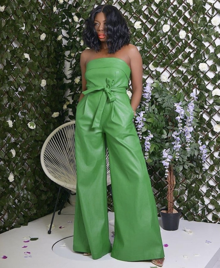 green leather jumpsuit stylerave