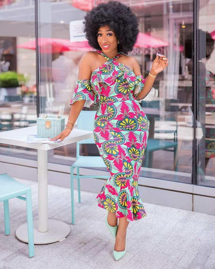 A Stylish Ankara Style With Cold Shouldered Sleeve