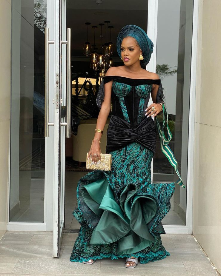 Off-Shoulder Gown With Feather Design