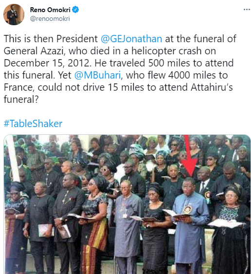 Reno Omokri calls out President Buhari and Osinbajo for not attending the funeral of the Chief of Army Staff, Ibrahim Attahiru