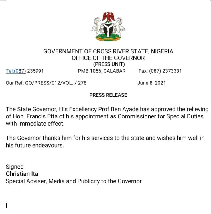 Governor Ayade sacks another commissioner