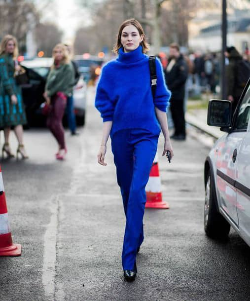 lady wearing blue monochrome outfit