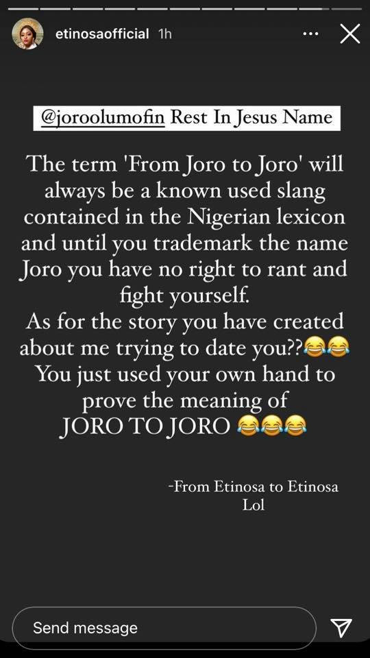 You make up stories about hot girls you can never get hitting on you - Etinosa and Joro Olumofin drag each other