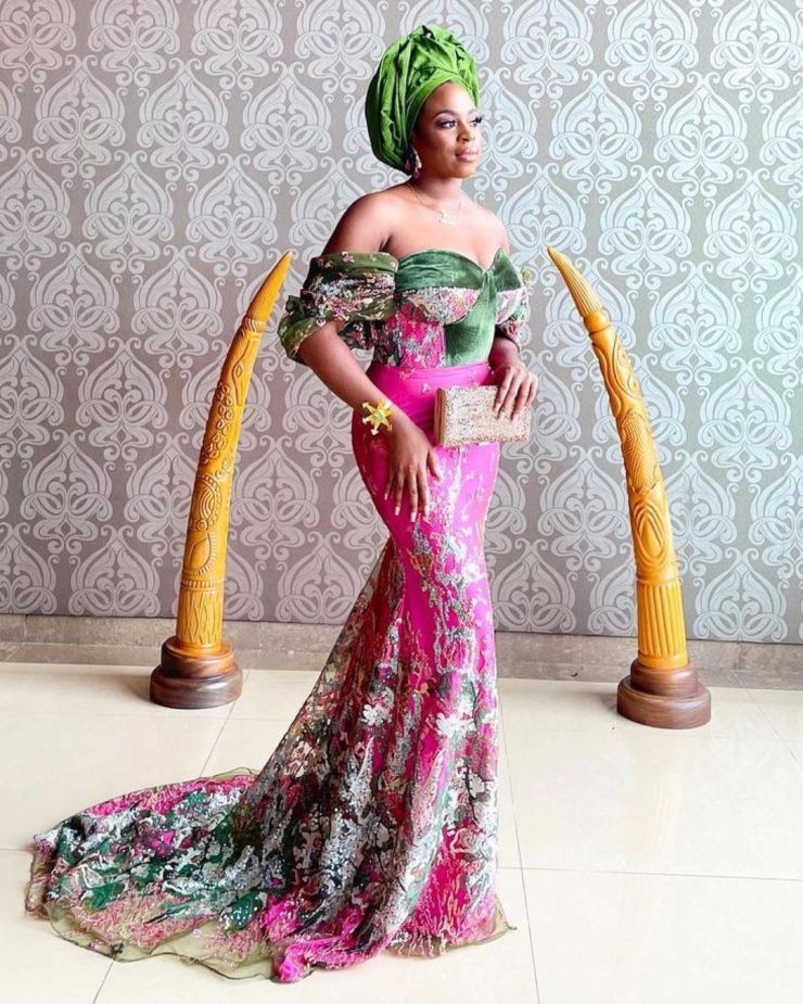 Off Shoulder Empire Gown Style
