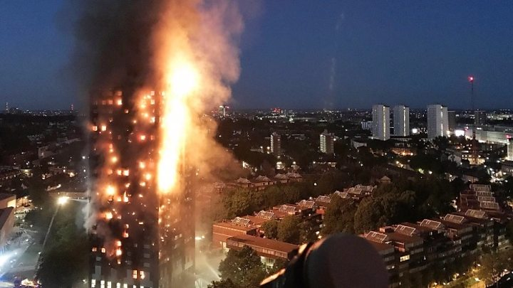 London Grenfell Tower on fire