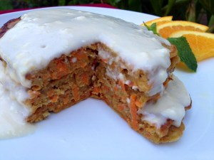 Whole Wheat Carrot Cake Pancakes with Maple Cream Cheese Drizzle