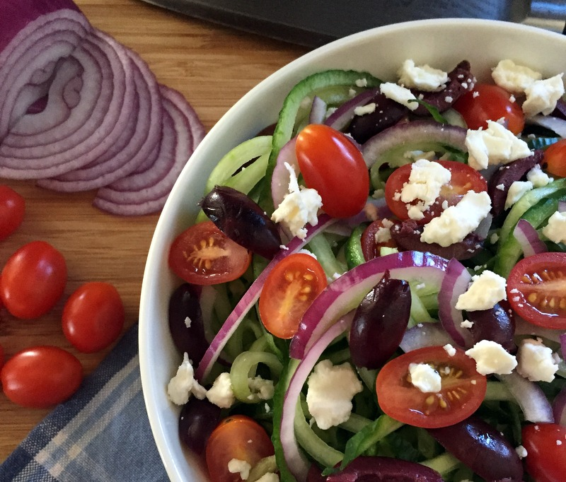 Spiraled Cucumber Greek Salad