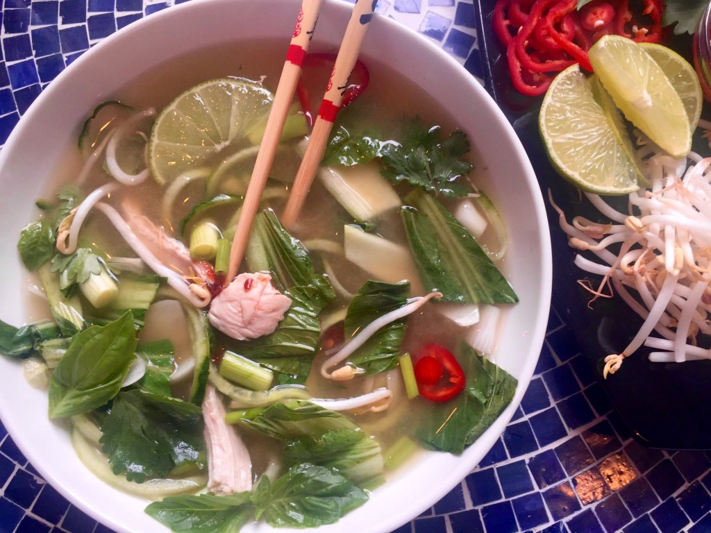 Chicken Pho with Cucumber Noodles