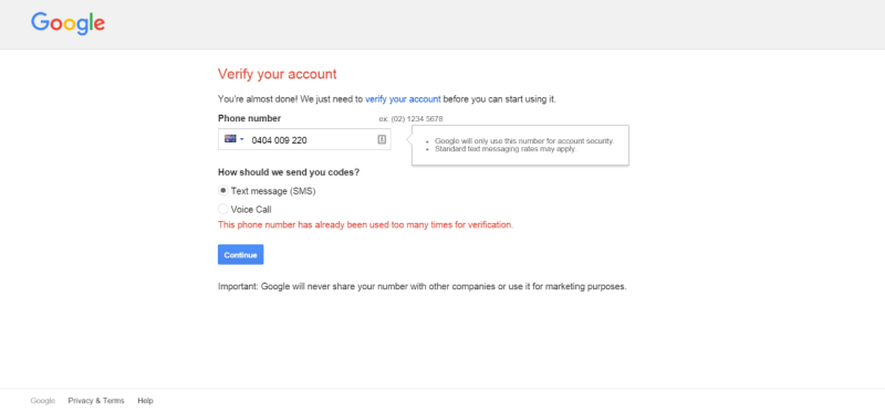 How to Create a Gmail Account Without Phone Number Verification - error message