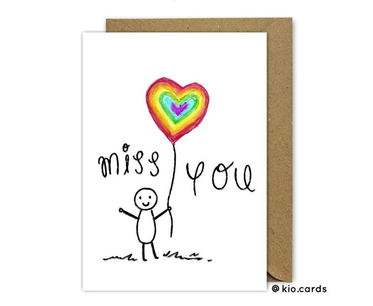 Rainbow of hope Miss you Card Product Image