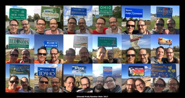 USA Road Trip Quer Etappen Selfie Collage