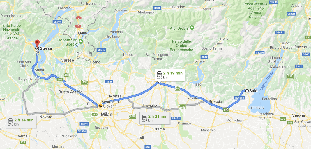 Google Maps Stage from Saló to Stresa