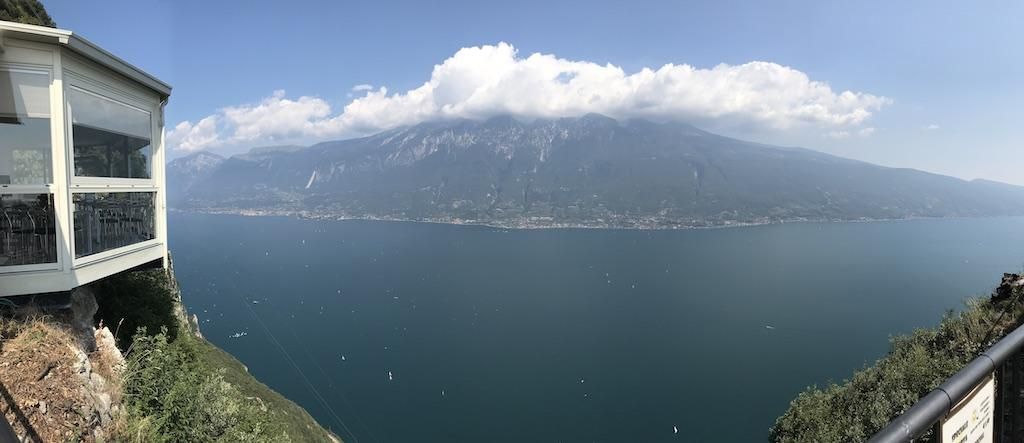 Wide screen picture of the panorama view of the Lake Garda