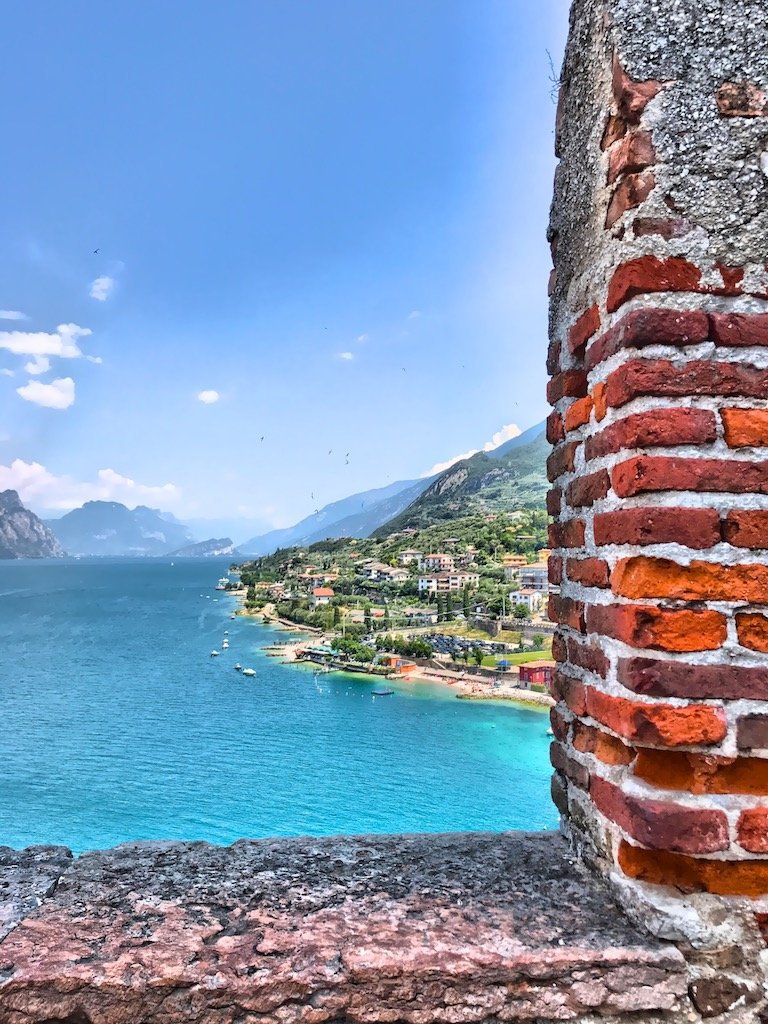 Beautiful view on the Lake Garda and Malescine from the Keep of the Scaliger Castle
