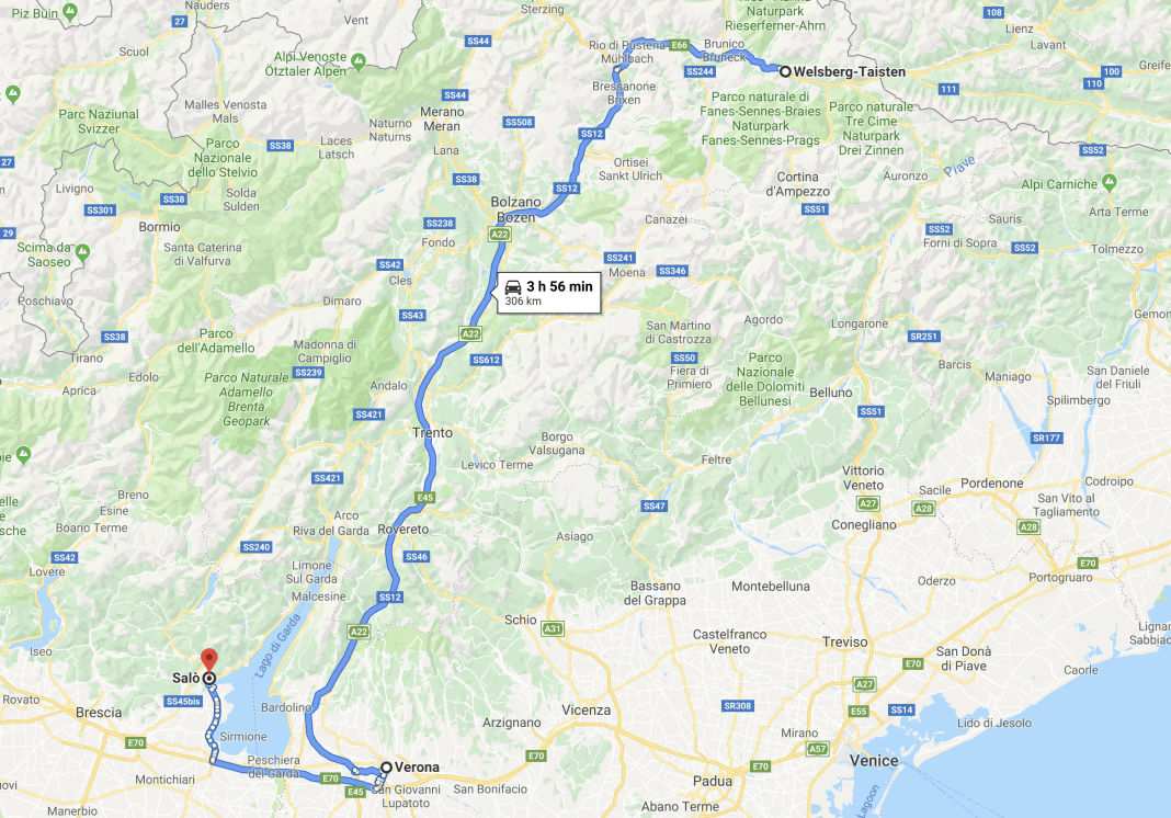 Google Maps Detail of Stage 2 from Welsbert to Saló