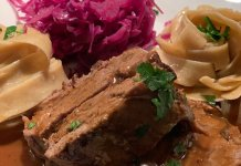 Burgundy roast with mushroom tagliatelle and red apple cabbage