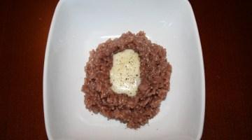 Risotto all'Amarone con crema di Castelmagno