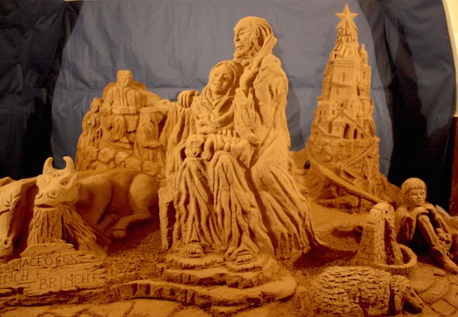 Presepe di sabbia, realizzato a Ibla