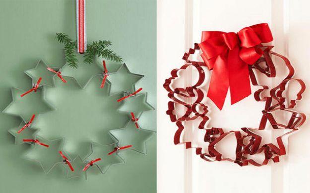 Ghirlanda natalizia realizzata con gli stampi per biscotti