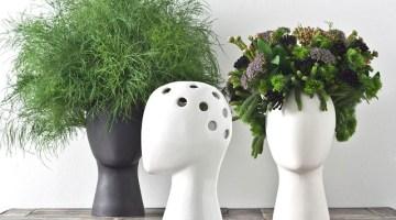 Wig vase by Tania da Cruz: hair stylist con piante e fiori