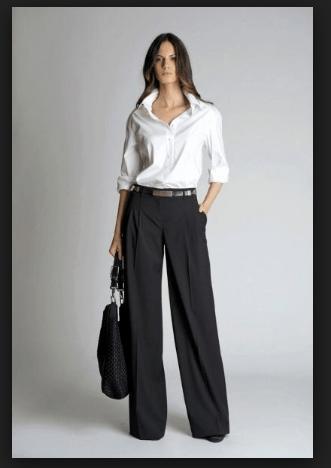 Camicia bianca su pantalone a palazzo, look formale