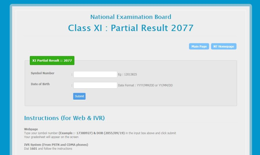 NEB Class XI Partial Result 2077 With Grade sheet