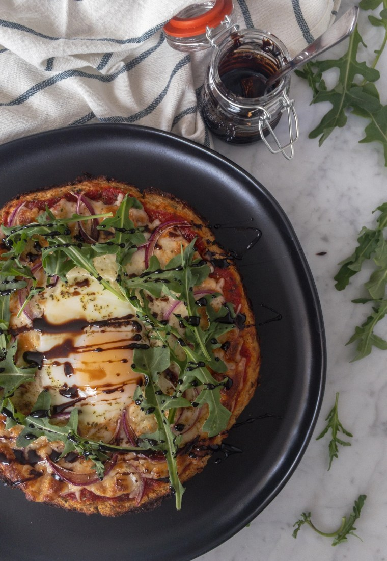 Low carb cauliflower pizza crust with a twist