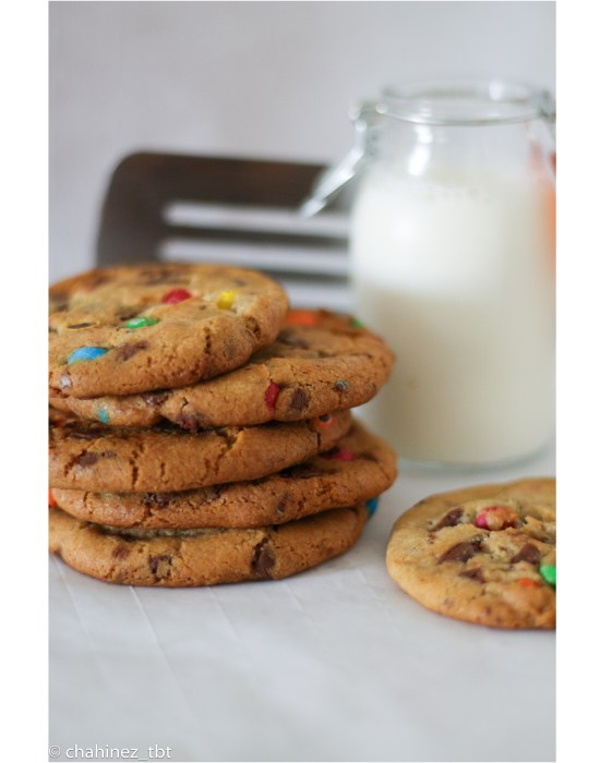 homemade chocolate chip m&m's cookies with cold milk
