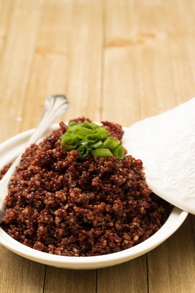 Cooked red quinoa