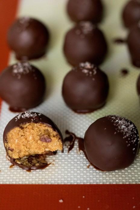 ooey gooey chocolate peanut butter date balls