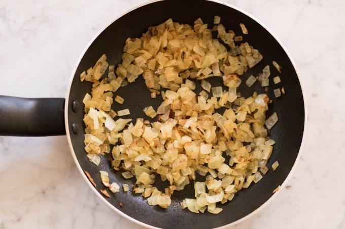 Sweating minced onion on the pan