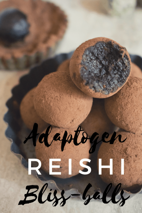 Adaptogen Reishi bliss balls recipe for pinterest